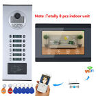 """7"""" LCD Wired Wifi 8 Apartment/Family Video Door Phone Intercom System HD 1000TVL"""