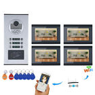 7inch Record Wired Wifi 4 Apartment/Family Video Door Phone Intercom System