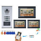 7inch Record Wired Wifi 3 Apartment/Family Video Door Phone Intercom System