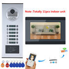 7inch Record Wired Wifi 11 Apartment/Family Video Door Phone Intercom System