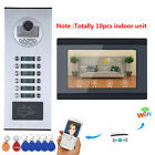 "7""LCD Wired Wifi 10 Apartment/Family Video Door Phone Intercom System HD 1000TVL"