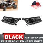 ATV UTV Polaris Black LED Headlights Hi/Low Beam w/ Adapter Offroad Driving Lamp