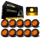 "10X2"" Amber Clearance light Lamp RV Truck Trailer Round Side Marker Waterproof"