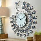 3D Large Wall Clock Home Office Creative Decorative Peacock Silent Clock