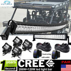 "US 20/22"" 120W+50"" Curved Led Light Bar+4"" pods cube Kit FOR Yamaha Raptor 700R"