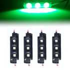 4Pc Green Pickup Truck Cargo Strip Lights DIY Interior Decorative LED Rock Light