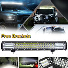 Tri Row 22inch CREE LED 648W Work Light Bar Spot Flood Combo Roof Bumper Lamp