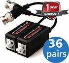 (36 Pair) VENTECH Video Balun cable HD Transceiver Pair Gold Plated BNC and Push