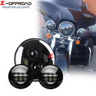 "Motorcycle Black LED 7"" Harley Headlight+2pcs 4.5"" Fog Lights Passing Lamps"