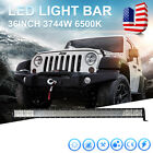 36Inch 3744W Quad Row Led Lamp Bar Spot Flood Beam Offroad 4WD SUV UTE 6000K USA