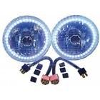 Chevy Headlight, 7 Inch Round White Diamond With Single Color White LED Halo,