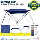 "New Bimini Top Boat Cover 4 Bow 46"" H 79"" - 84"" W  8 Foot Long Navy Blue"