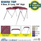 """New Bimini Top Boat Cover 4 Bow 54"""" H 67"""" - 72"""" W 8 ft. L. Solution Dye Burgundy"""
