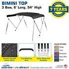 "New Bimini Top Boat Cover 3 Bow 54""H x79""-84"" W Solution Dye Black"