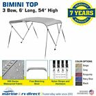 "New 4 Seasons Brand Boat Bimini Top Cover 3 Bow 54""H x 79""-84"" W Gray"