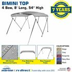 "Bimini Top Boat Cover 4 Bow 54"" H 67"" - 72"" W 8 Ft. Long Gray"