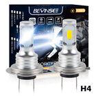 Pair H4 9003 100W 6500K White 3000LM LED Headlight Bulbs For Ski-Doo Snowmobile