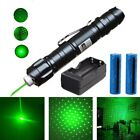 50Miles 532nm Green Laser Pointer Pen 18650 Rechargeable+2x Battery+Dual Charger