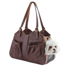 Petote Metro Couture Leather Dog Carrier, Toffee, Large