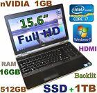(3D-Design FHD) DELL E6530 i7-2.9GHz (512GB-SSD + 1TB 16GB) 15.6 nVIDIA Backlit