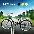 """7-Speed 24""""/26"""" 3-Wheel Tricycle Trike Bicycle Cruise w/ Basket Ridgeyard"""