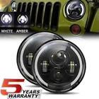"7"" Inch Round LED Headlight Hi/Low Beam Halo Angle Eyes For Jeep Wrangler JK TJ"
