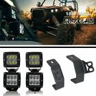 Fit Polaris RZR XP1000 4Pcs 3x3 inch LED Fog Light Pod w/A-Pillar Mount Brackets