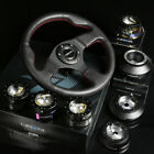 NRG 142H HUB+GEN 3.0 QUICK RELEASE+LEATHER RED STITCHES STEERING WHEEL BLACK