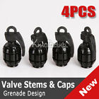 4x Cool Black Grenade Tire Tyre Air Valve Dust Cap Cover for Car Motorcycle Vans