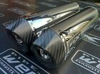 Yamaha XJR 1200 Pair of Stainless Oval Carbon Outlet Exhausts Cans, Silencers