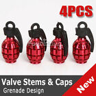 4pcs Red Grenade Bike Car Motors Motorcycle Tire Tyre Air Valve Dust Caps Covers