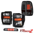 Pair Black Headlights 08 09 2010 F250 Turbo Diesel Tinted LED Brake Lights Cargo