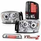 [BRIGHTEST] CCFL Angel Eye Headlights LED Black Taillamps 3rd Brake 07 08 Ram V8
