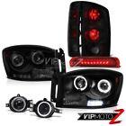 Headlights Halo LED Foglights Smoke 3RD Brake Cab Lights 06 Ram 1500 2500 3500