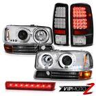2000-2006 Yukon SLT Halo Headlights Signal LED Taillamps Wine Red Third Brake