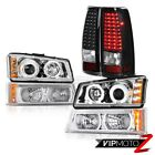 Headlights Halo DRL LED Parking Signal Black Taillamps 2003-2006 Chevy Silverado