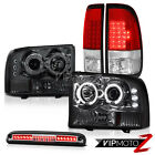 1999-2004 F350 XL Projector Headlights Smoke RED LED Tail Lights High Stop Clear
