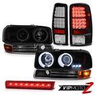 00-06 Yukon CCFL Angel Eye Halo Headlights Signal Brake Tail Lights Roof LED Red