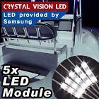 Crystal Vision Samsung LED 5PCS Kit For Boat Marine Deck Interior Light (White)