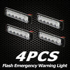 4 X Super Bright Amber 6-LED Car Flash Emergency Hazard Warning Strobe Light