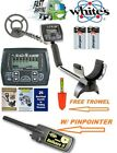 """Whites Coinmaster Metal Detector with Waterproof 9"""" Coil Pinpointer & Trowel"""