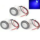 3x Blue LED Courtesy Livewell Marine Boat RV Light Round Under Water Waterproof