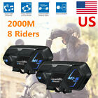 2x M1-S 2000M BT Motorcyle Bluetooth Helmet Headset Intercom Communication FM