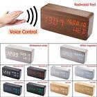 Modern Wood Digital LED Alarm Clock Thermometer Timer Calendar Voice Control