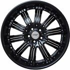 Set of 4 GWG Wheels 20 inch Black with Black Inserts NARSIS 20x8.5 Rims 5x114.3