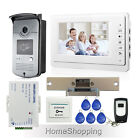 "New Wired 7"" Video Door Phone Doorbell Intercom System with Strike Lock+Remote"