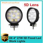 "8X27W 4"" Flood LED Circle Work Lights Offroad Driving Fog Lamp Round 5D Opticals"