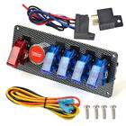 12V Panel Ignition Switch Carbon LED Toggle Start Push Button Kit Racing Car