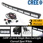 43 inch CREE single row led curved light bar off-road work light+ wiring harness