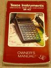 Texas Instruments SR-40 Electronic Slide-Rule Calculator Owner's Manual TI